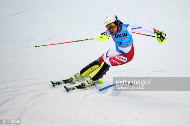Wendy Holdener of Switzerland competes in the slalom event during the Alpine Skiing FIS World Cup Ladies Alpine combined on February 24 2017 in...