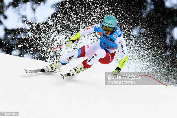 TOPSHOT Wendy Holdener of Switzerland competes in the Super G event during the Alpine Skiing FIS World Cup Ladies Alpine combined on February 24 2017...