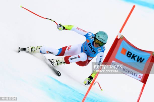 Wendy Holdener of Switzerland competes in the Super G event during the Alpine Skiing FIS World Cup Ladies Alpine combined on February 24 2017 in...