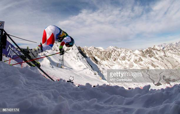 Wendy Holdener of Switzerland competes in the women's Giant Slalom event of the FIS ski World cup in Soelden Austria on October 28 2017 Viktoria...