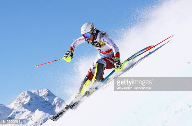 Wendy Holdener of Switzerland competes in the Women's Slalom during the FIS Alpine World Ski Championships on February 18 2017 in St Moritz...