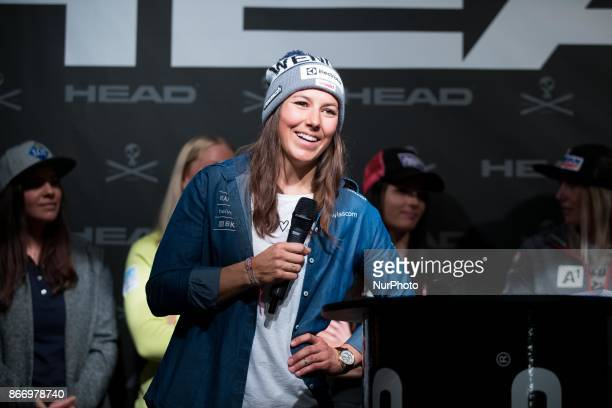 Wendy Holdener of Switzerland during HEAD press conference on October 26th 2017 in Solden Austria