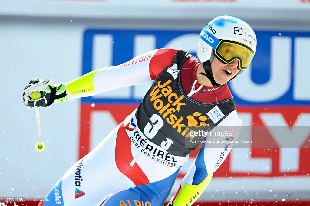 <a gi-track='captionPersonalityLinkClicked' href=/galleries/search?phrase=Wendy+Holdener&family=editorial&specificpeople=7471001 ng-click='$event.stopPropagation()'>Wendy Holdener</a> of Switzerland during the Audi FIS Alpine Ski World Cup Finals Nations Team Event on March 20, 2015 in Meribel, France.