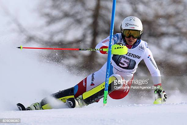 Wendy Holdener of Switzerland in action during the Audi FIS Alpine Ski World Cup Women's Slalom on December 11 2016 in Sestriere Italy