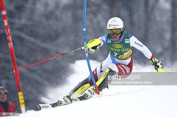 Wendy Holdener of Switzerland in action during the Audi FIS Alpine Ski World Cup Women's Slalom on January 08 2017 in Maribor Slovenia