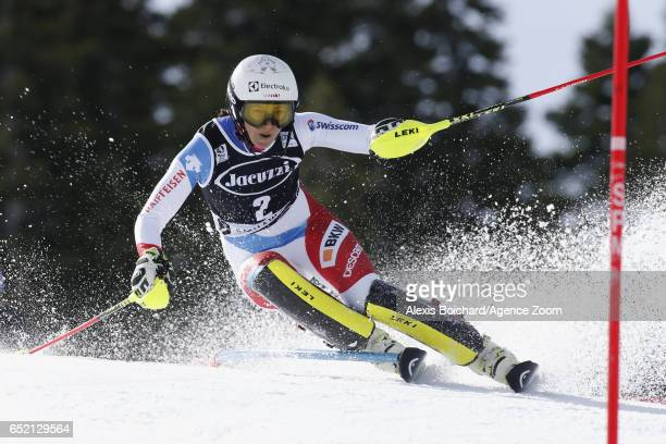 Wendy Holdener of Switzerland in action during the Audi FIS Alpine Ski World Cup Women's Slalom on March 11 2017 in Squaw Valley California