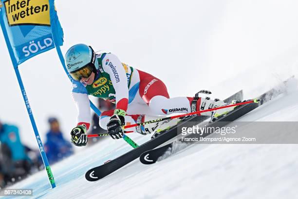Wendy Holdener of Switzerland in action during the Audi FIS Alpine Ski World Cup Women's Giant Slalom on October 28 2017 in Soelden Austria