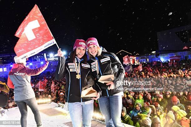 Wendy Holdener of Switzerland Michelle Gisin of Switzerland Michaela Kirchgasser of Austria during the medal ceremony of the FIS Alpine Ski World...
