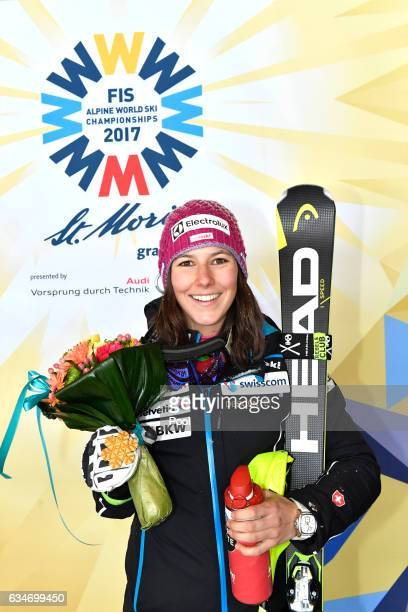 Wendy Holdener of Switzerland poses with the gold medal during the medal ceremony for the Women's Combined during the FIS Alpine World Ski...