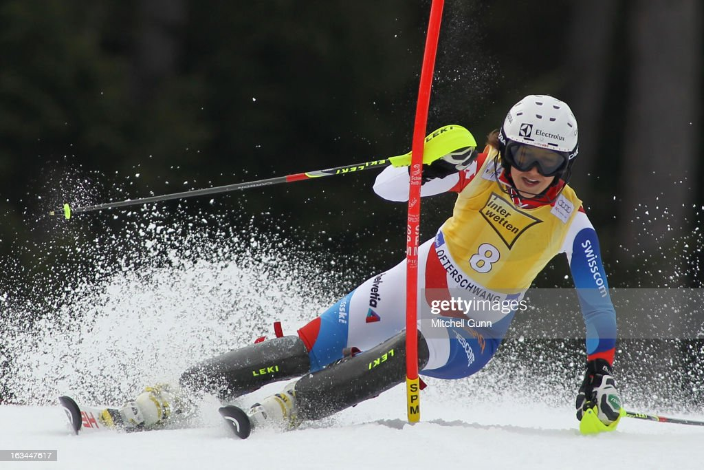Wendy Holdener of Switzerland races down the course whilst competing in the Audi FIS Alpine Ski World Cup Women's Slalom on March 10, 2013 in Ofterschwang, Germany.