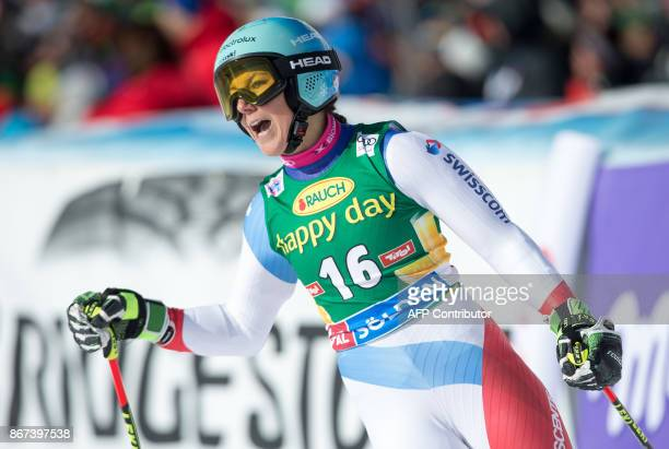 Wendy Holdener of Switzerland reacts after finishing during the women's Giant Slalom event of the FIS ski World cup in Soelden Austria on October 28...