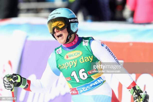 Wendy Holdener of Switzerland reacts after the second run of the AUDI FIS Ski World Cup Ladies Giant Slalom on October 28 2017 in Soelden Austria