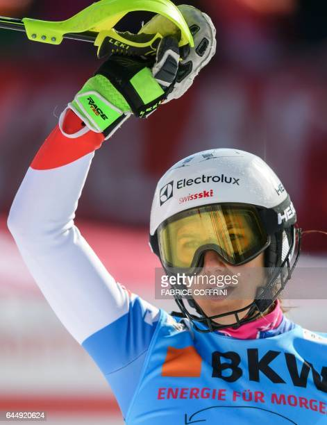 Wendy Holdener of Switzerland reacts in the finish area during the Alpine Skiing FIS World Cup Ladies Alpine combined on February 24 2017 in...