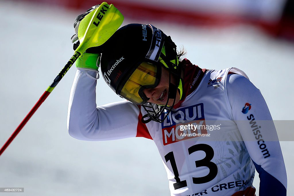 <a gi-track='captionPersonalityLinkClicked' href=/galleries/search?phrase=Wendy+Holdener&family=editorial&specificpeople=7471001 ng-click='$event.stopPropagation()'>Wendy Holdener</a> of Switzerland reacts to her run during the ladies' slalom. FIS Alpine World Ski Championships 2015 on Saturday, February 14, 2015.