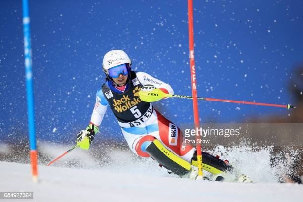 Wendy Holdener of Switzerland skis her first run of the Ladies' Slalom during the 2017 Audi FIS Ski World Cup Finals at Aspen Mountain on March 18...