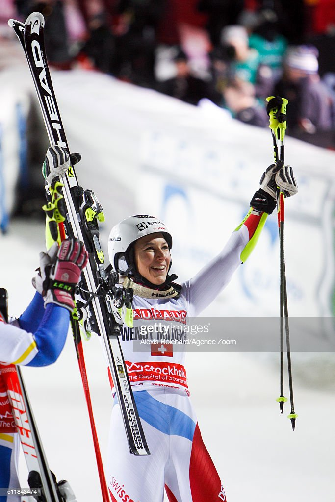 Wendy Holdener of Switzerland takes 1st place during the Audi FIS Alpine Ski World Cup Men's and Women's City Event on February 23, 2016 in Stockholm, Sweden.