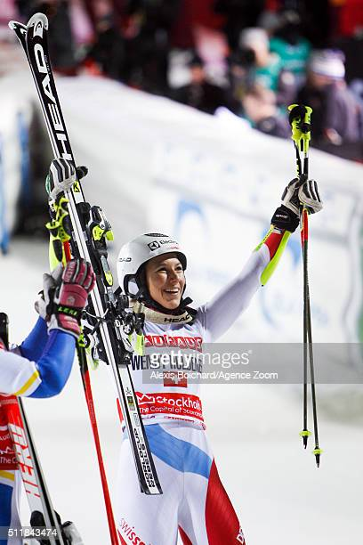Wendy Holdener of Switzerland takes 1st place during the Audi FIS Alpine Ski World Cup Men's and Women's City Event on February 23 2016 in Stockholm...