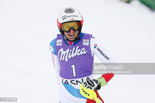 Wendy Holdener of Switzerland takes 2nd place during the Audi FIS Alpine Ski World Cup Women's Slalom on March 06 2016 in Jasna Slovakia