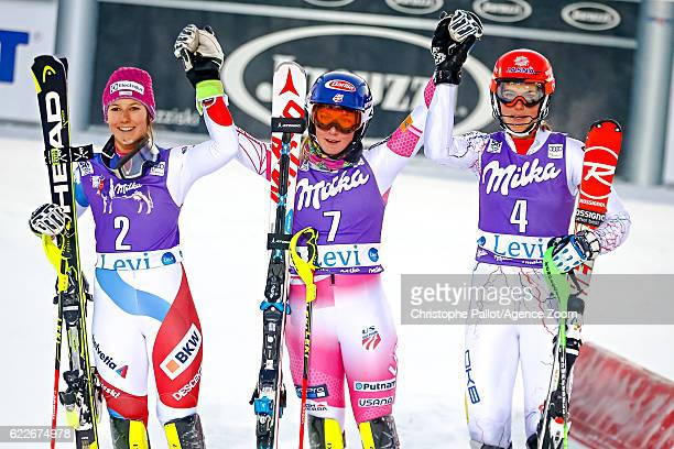 Wendy Holdener of Switzerland takes 2nd place Mikaela Shiffrin of USA takes 1st place Petra Vlhova of Slovakia takes 3rd place during the Audi FIS...