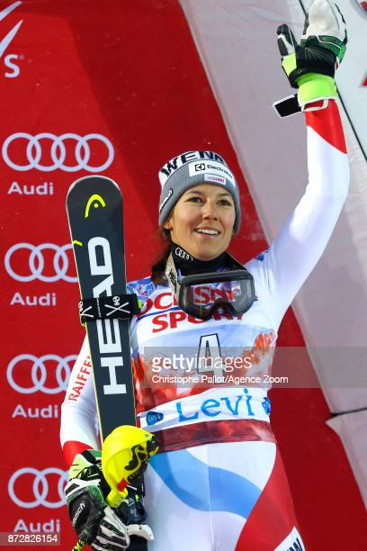 Wendy Holdener of Switzerland takes 3rd place during the Audi FIS Alpine Ski World Cup Women's Slalom on November 11 2017 in Levi Finland