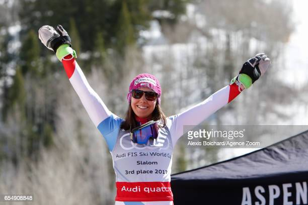 Wendy Holdener of Switzerland takes 3rd place in the overall standings during the Audi FIS Alpine Ski World Cup Finals Women's Slalom on March 18...