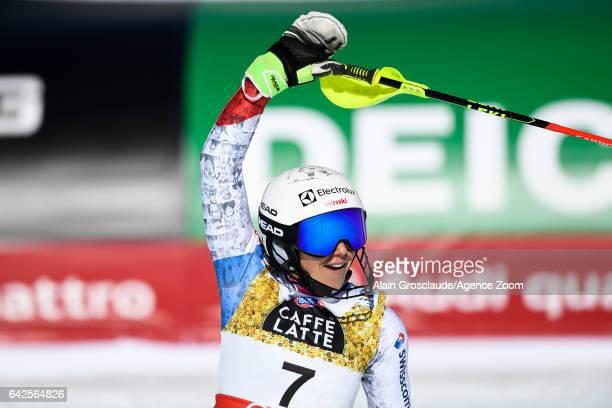 Wendy Holdener of Switzerland wins the silver medal during the FIS Alpine Ski World Championships Women's Slalom on February 18 2017 in St Moritz...