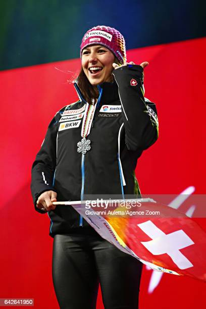 Wendy Holdener of Switzerland wins the silver medal during the FIS Alpine Ski World Championships Women's Slalom on February 18 2017 in St Moritz...