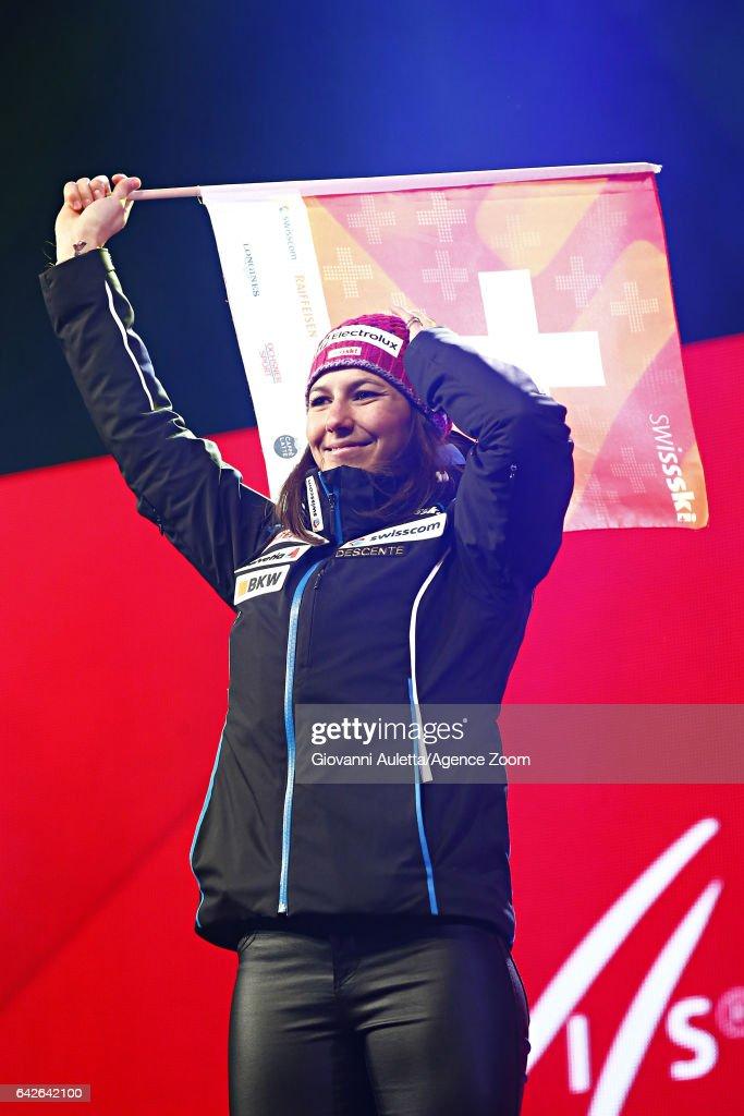 Wendy Holdener of Switzerland wins the silver medal during the FIS Alpine Ski World Championships Women's Slalom on February 18, 2017 in St. Moritz, Switzerland