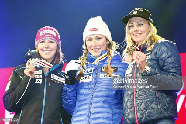 Wendy Holdener of Switzerland wins the silver medal Mikaela Shiffrin of USA wins the gold medal Frida Hansdotter of Sweden wins the bronze medal...