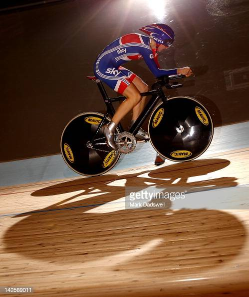 Wendy Houvenaghel of Great Britain competes in the Women's Individual Pursuit qualifying during day five of the 2012 UCI Track Cycling World...