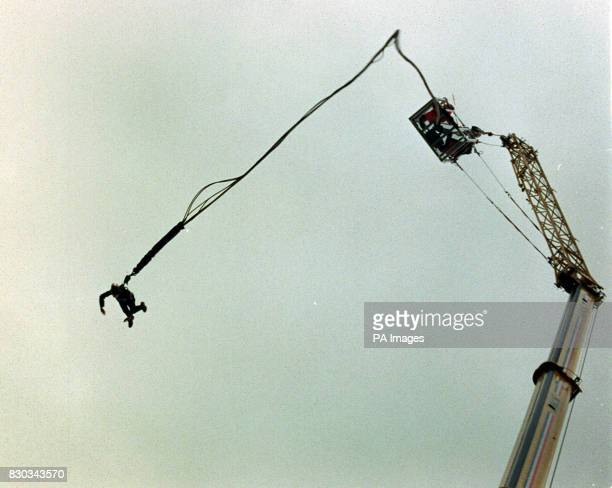 Wendy Lloyd Appeal Manager for Lord Mayor's Appeal 2000 for Barnardo's the children's charity during her bungee jump at the Honorable Artillery...