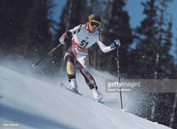 Wendy Lumby of Great Britain skiing in the Women's Giant Slalom event on 24 February 1988 during the XV Olympic Winter Games in Nakiska Calgary...