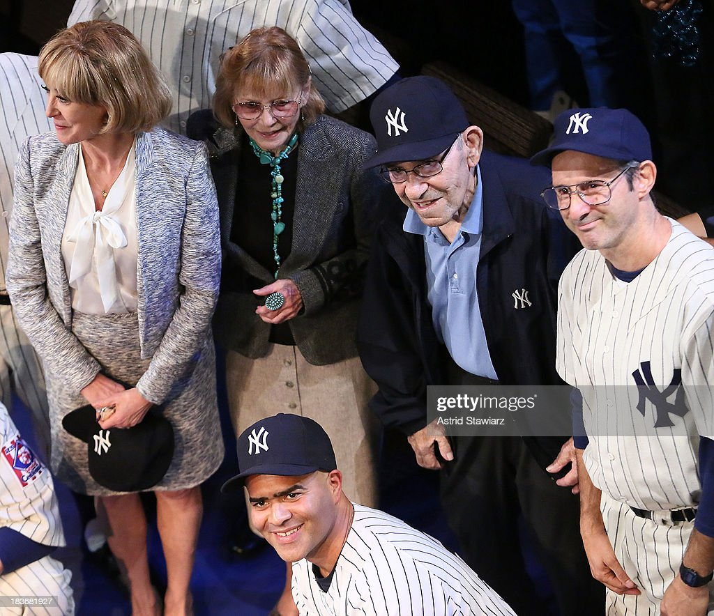 Wendy Makkena, Carmen Berra, former New York Yankees player and manager <a gi-track='captionPersonalityLinkClicked' href=/galleries/search?phrase=Yogi+Berra&family=editorial&specificpeople=94270 ng-click='$event.stopPropagation()'>Yogi Berra</a>, Richard Topol and Christopher Jackson pose for photos during 'Bronx Bombers' Opening Night Curtain Call at Primary Stages on October 8, 2013 in New York City.
