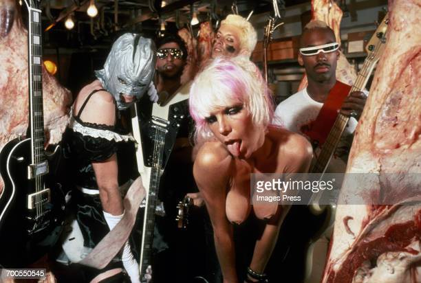 Wendy O Williams and her Plasmatics bandmates film scenes for a music video circa 1980 in New York City