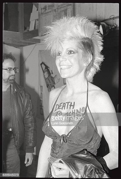 Wendy O Williams of the Plasmatics with words painted on her chest Death To Techno Pop