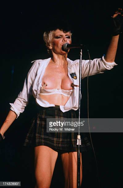 Wendy O Williams performs with The Plasmatics in concert at the Celebrity Theatre on June 121981 in Phoenix Arizona