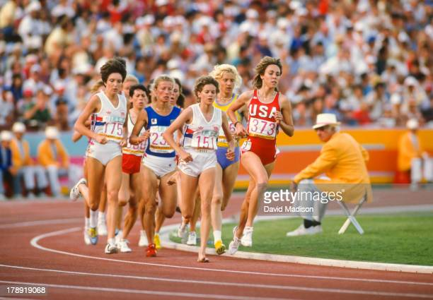 Wendy Sly Agnese Possamai Zola Budd Maricica Puica and Mary Decker run the Women's 3000 meter final of the 1984 Olympics held in the Los Angeles...
