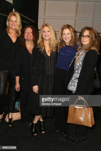 Wendy Van Patten Aida Turturro Nanette Lepore Edie Falco and Talia Balsam pose backstage at the Nanette Lepore fashion show during MercedesBenz...