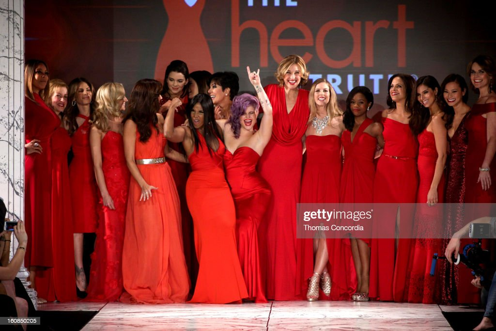 Wendy Williams, Cindy Parsons, Jillian Michaels, Kendall Jenner, Kylie Jenner, Kris Jenner, Toni Braxton, Kelly Osbourne, Brenda Strong,Torah Bright , Gabrielle Douglas, Soledad O'Brien, Roselyn Sanchez, Jamie Chung, and Savannah Guthrie dance on the runway at The Heart Truth's Red Dress Collection during Fall 2013 Mercedes-Benz Fashion Week at Hammerstein Ballroom on February 6, 2013 in New York City.
