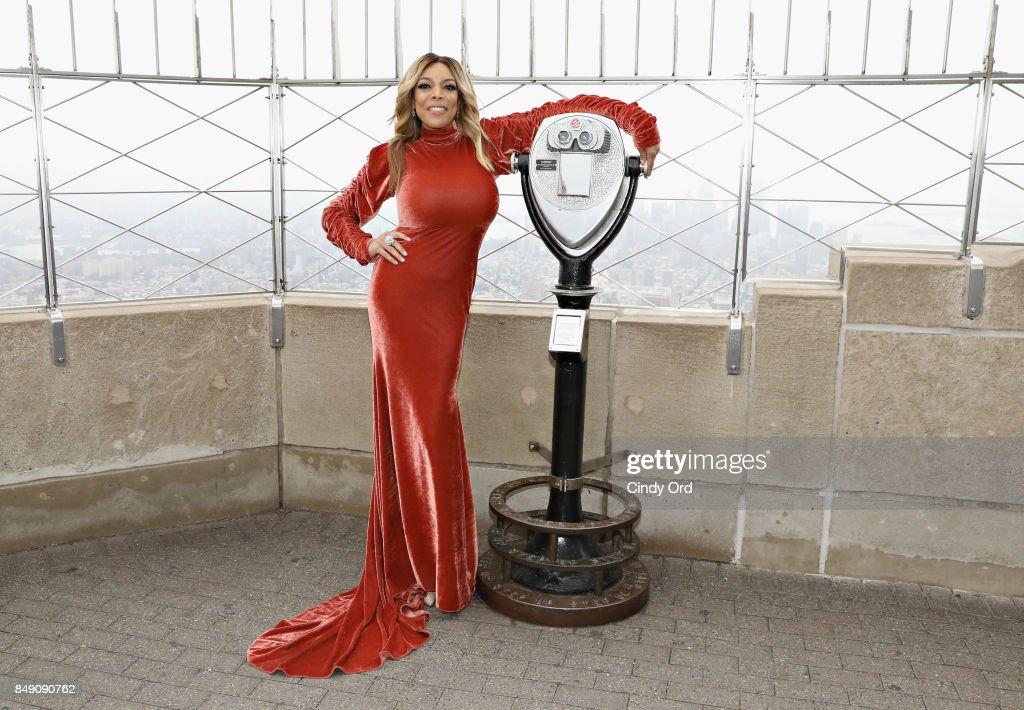 Wendy Williams poses for a photo on the observation deck after taking part in the ceremonial lighting of the Empire State Building to celebrate the The Wendy Williams Show's ninth season at The Empire State Building on September 18, 2017 in New York City.
