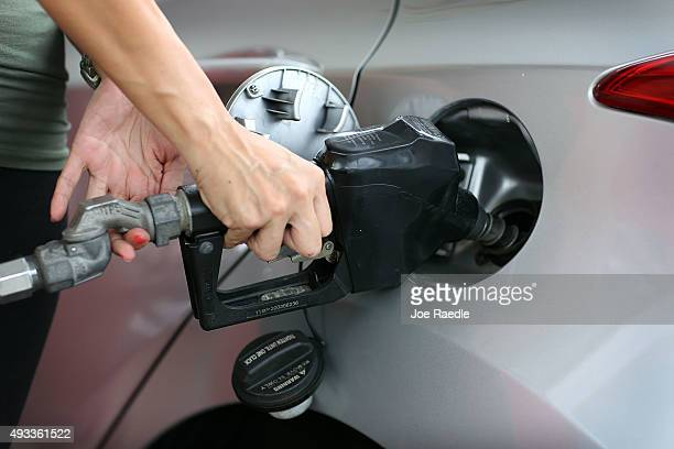Wendy Yanez fills her vehicle with gas at a UGas station on October 19 2015 in Miami Florida As gas prices remain low across the nation a recent...