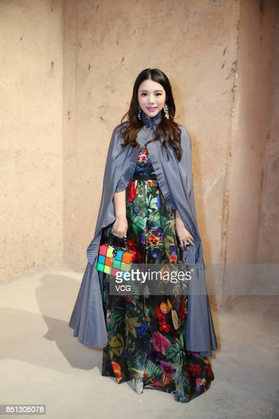 Wendy Yu attends the Mary Katrantzou show during London Fashion Week Spring/Summer 2018 on September 17 2017 in London England