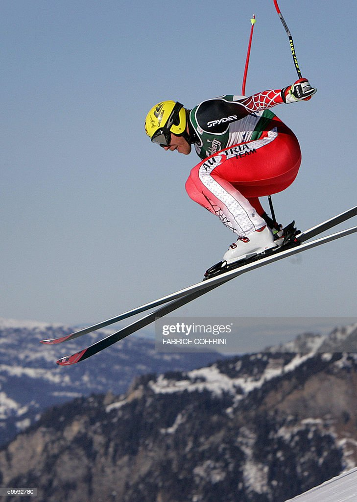 Hermann Maier of Austria is airborne 14 January 2006 over the Russi jump on his way to capture the 4th place in the Alpine skiing World Cup men...