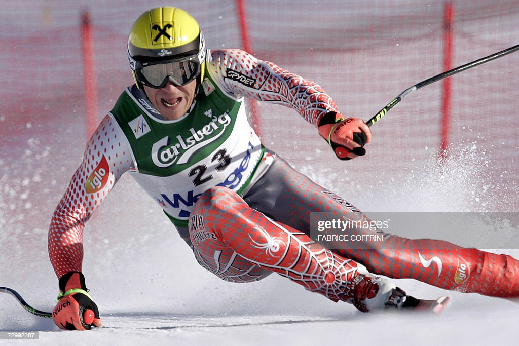 Hermann Maier of Austria races to place 9th in the Lauberhorn Men's ski World Cup downhill 13 January 2007 in Wengen. US Bode Miller won the race ahead of Didier Cuche of Switzerland and Peter Fill of Italy.