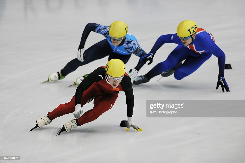 Wenhao Liang of China leads Race 3 of Men 500m Preliminaries during day one of the ISU World Cup Short Track at Nippon Gaishi Arena on November 30, 2012 in Nagoya, Japan.