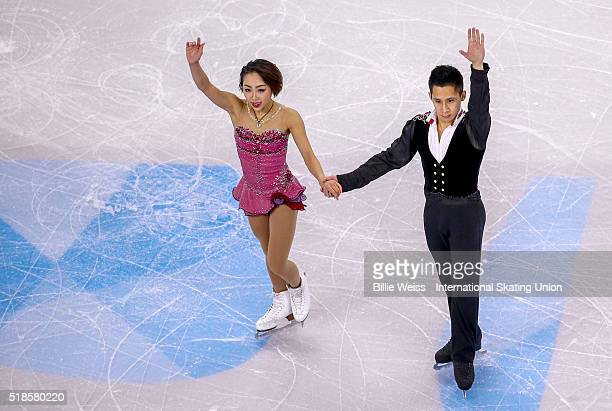 Wenjing Sui and Cong Han of China compete during Day 5 of the ISU World Figure Skating Championships 2016 at TD Garden on April 1 2016 in Boston...