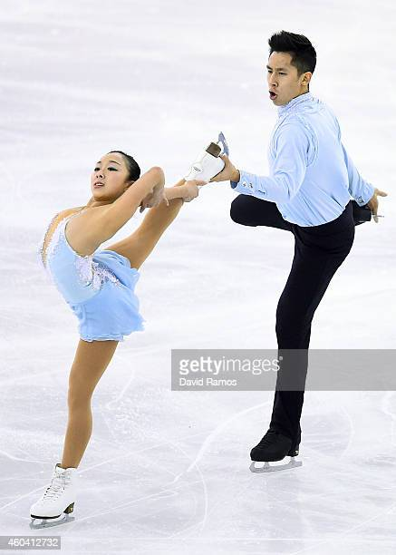 Wenjing Sui and Cong Han of China compete in Free Skating Pairs Final during day three of the ISU Grand Prix of Figure Skating Final 2014/2015 at...