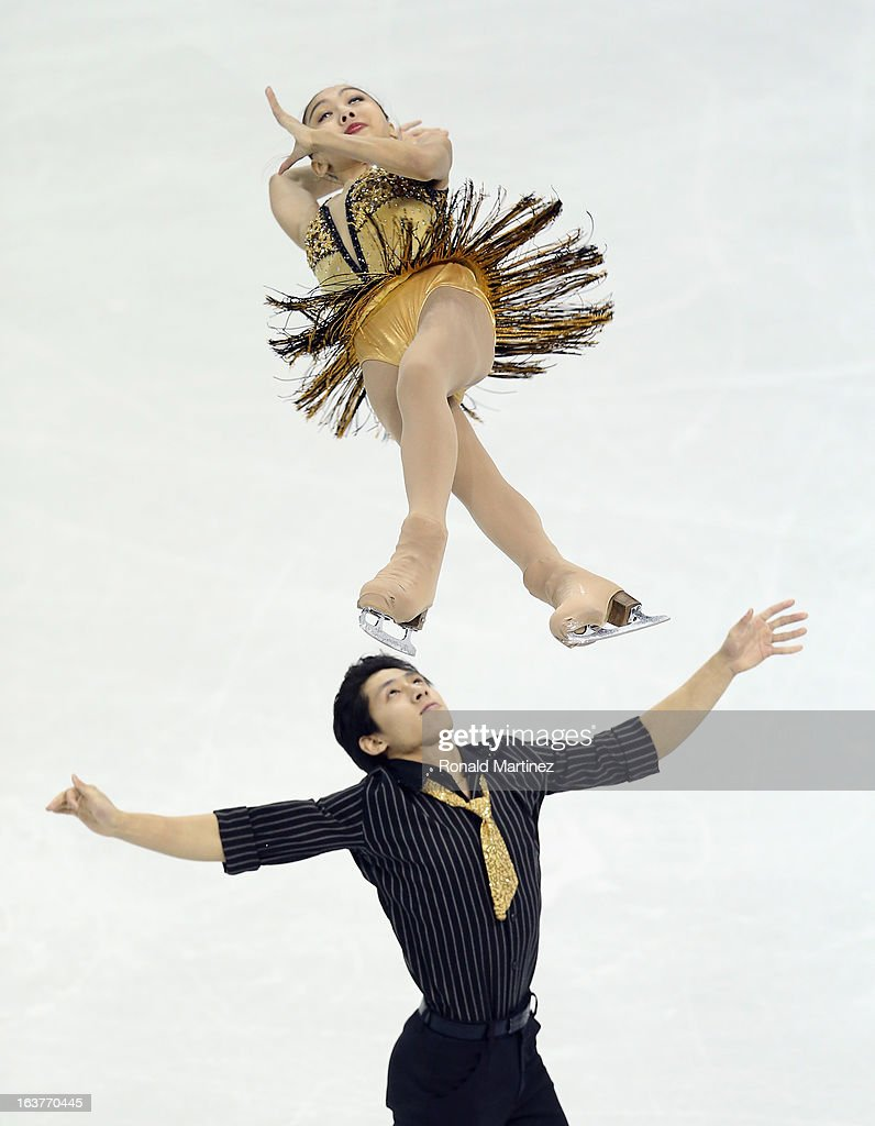 Wenjing Sui and Cong Han of China compete in the Pairs Free Skating during the 2013 ISU World Figure Skating Championships at Budweiser Gardens on March 15, 2013 in London, Canada.
