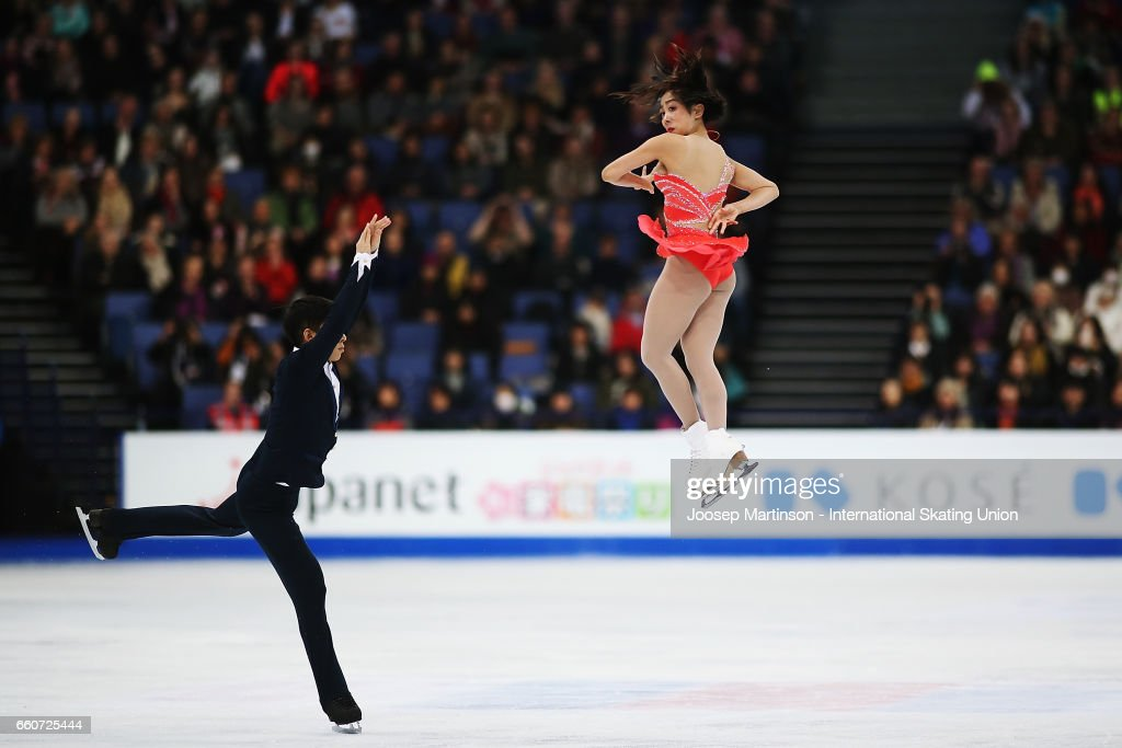 Wenjing Sui and Cong Han of China compete in the Pairs Free Skating during day two of the World Figure Skating Championships at Hartwall Arena on March 30, 2017 in Helsinki, Finland.