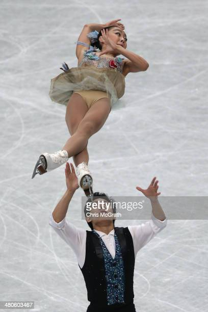 Wenjing Sui and Cong Han of China compete in the Pairs Short Program during ISU World Figure Skating Championships at Saitama Super Arena on March 26...